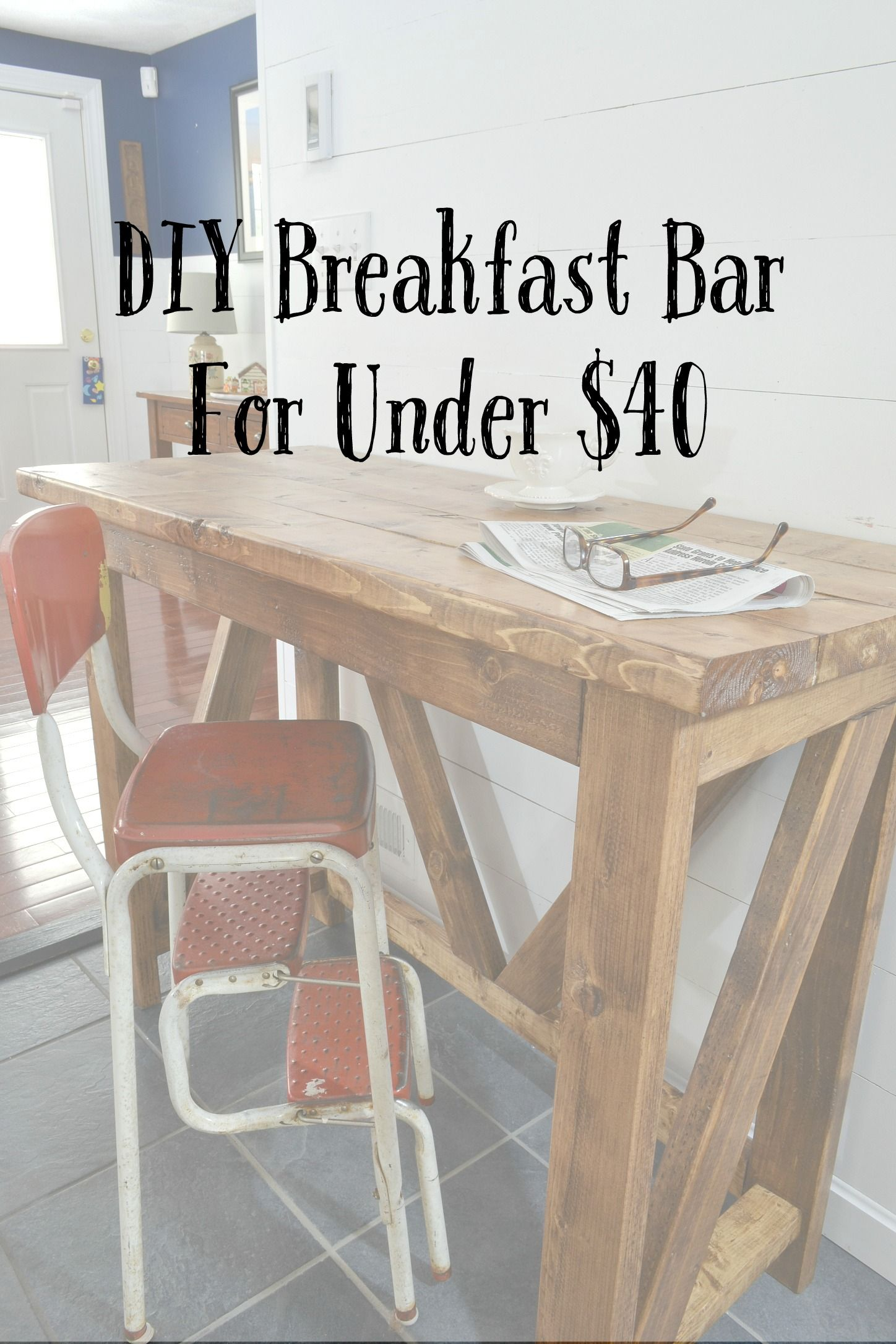 A Great How To For An Inexpensive Diy Breakfast Bar To Suit Your Needs Not Those Of A Million People Buying Bar Table Diy Diy Breakfast Bar Breakfast Bar Table