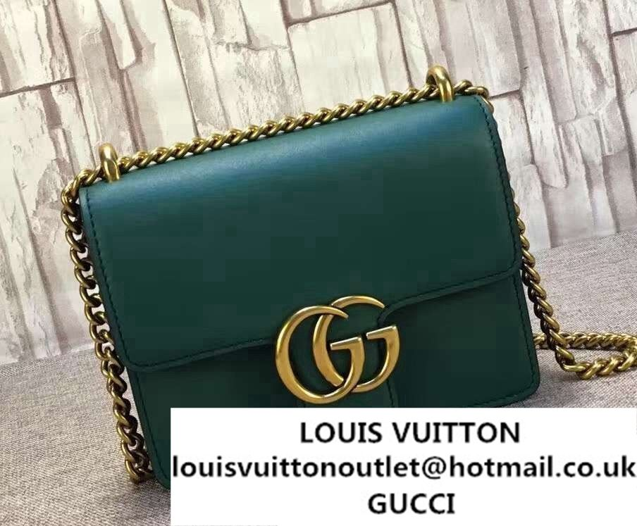 c2c50376e69 Gucci GG Marmont Leather Chain Shoulder Small Bag 431384 Green 2016 ...