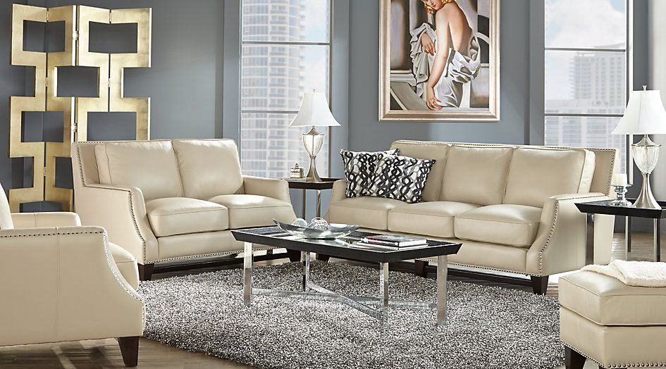 Sofia Vergara Bal Harbour 2 Pc Beige Leather Living Room Living Room Sets Beige Living Room Sets Furniture Living Room Sets Leather Couches Living Room