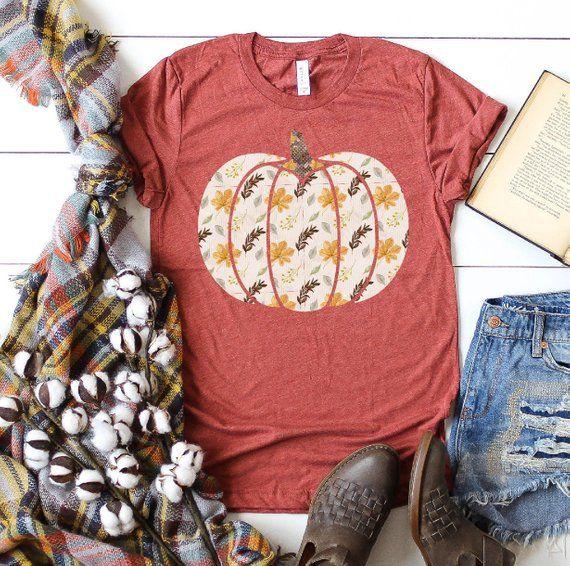 Fall Pumpkin Floral Print T-shirt, Pumpkin Spice Shirt, Pumpkin Shirt, , Fall Fashion, Halloween Shirt, Thanksgiving Shirts, Plus Size Tees