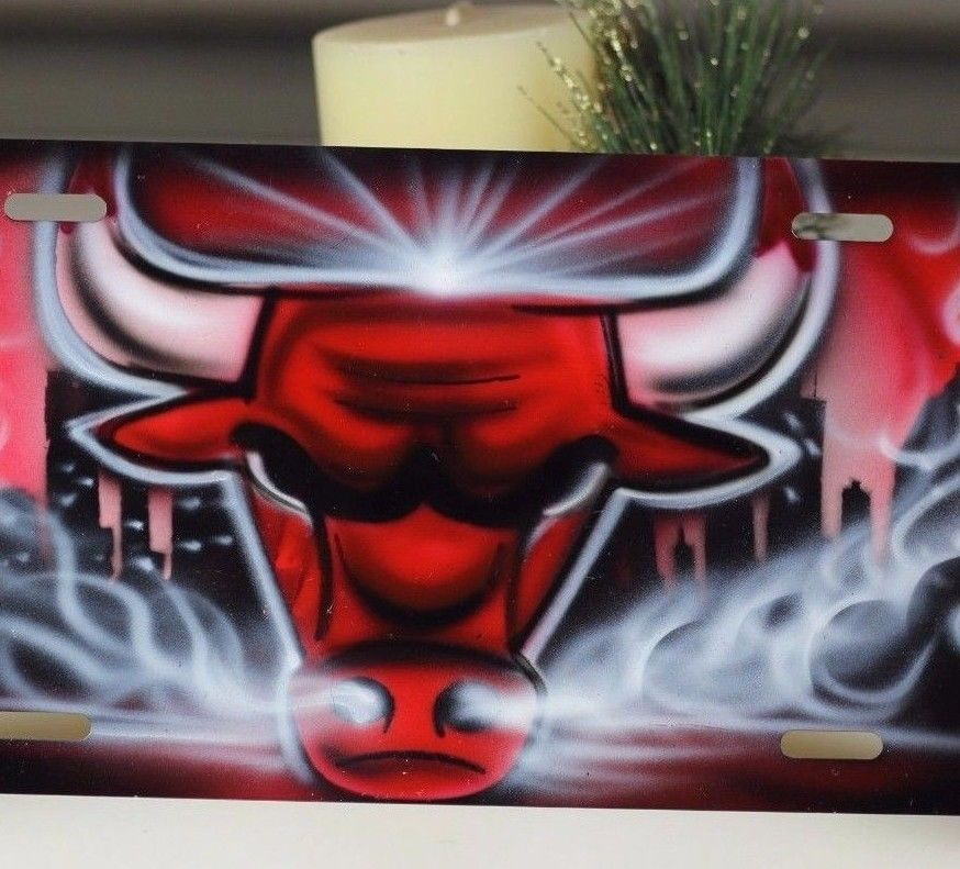 182eebed Chicago Bulls license plate airbrush Design - Spray Paint basketball Car  tag #ChicagoBulls #bulls