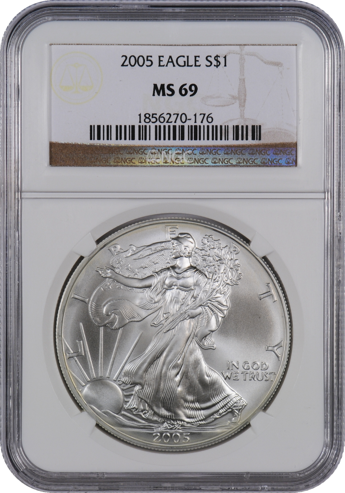 This 2005 Silver Eagle Ms69 Is A Popular Coin For Investors And Collectors Alike This Coin Has A Face Value Of One Us Doll Silver Eagles Coins Silver Bullion