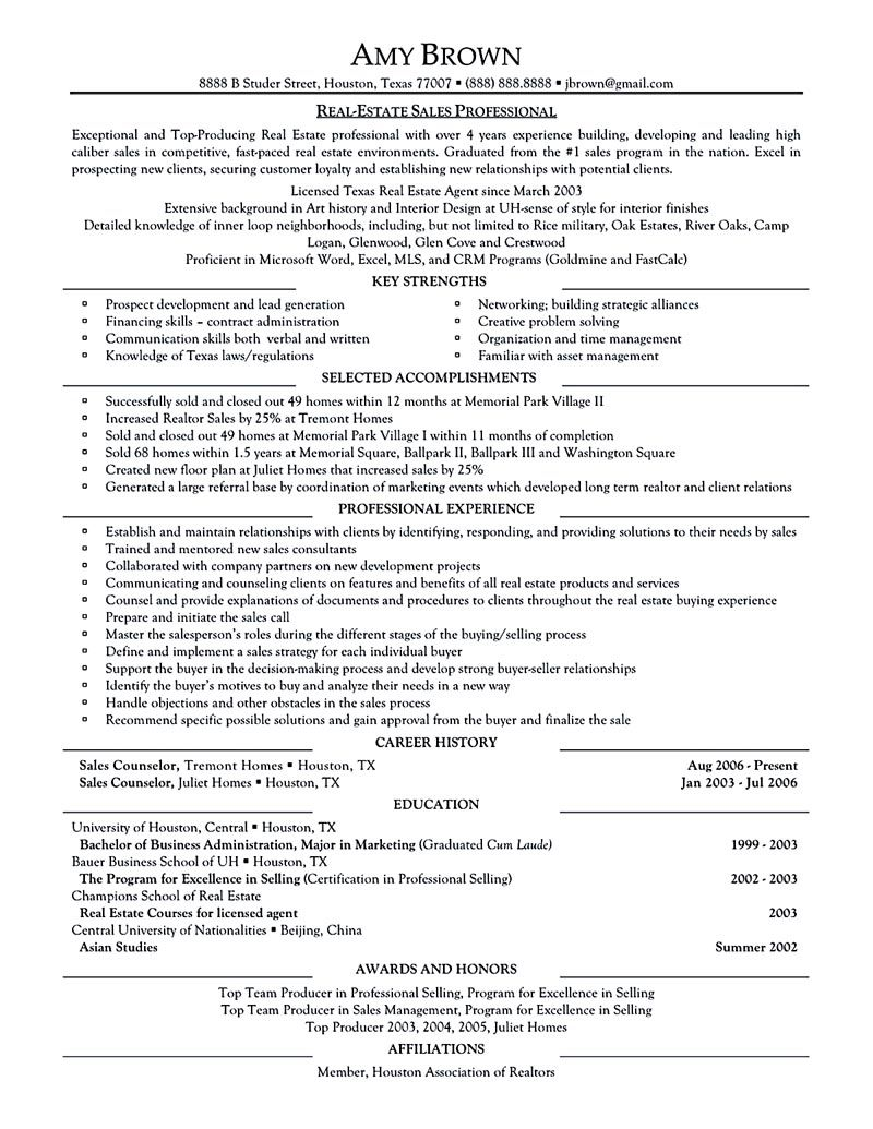 real estate resume examples Real