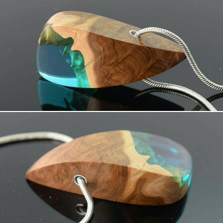 Burl wood and ocean blue /Teal resin pendant.  Handmade by ArtfulResin.etsy.com