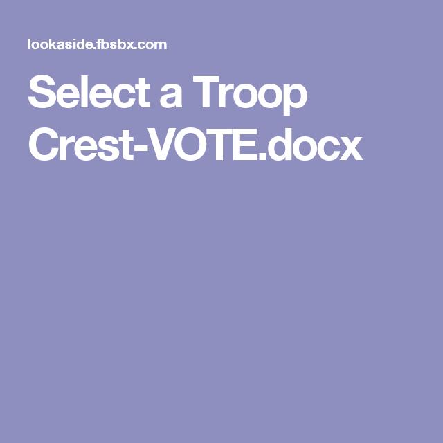 Select a Troop Crest-VOTE docx   Brownies   Girl scout troop