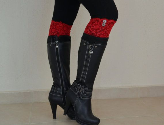 Red stretchy lace button boot cuffs boho boot socks lace by bstyle, $20.00