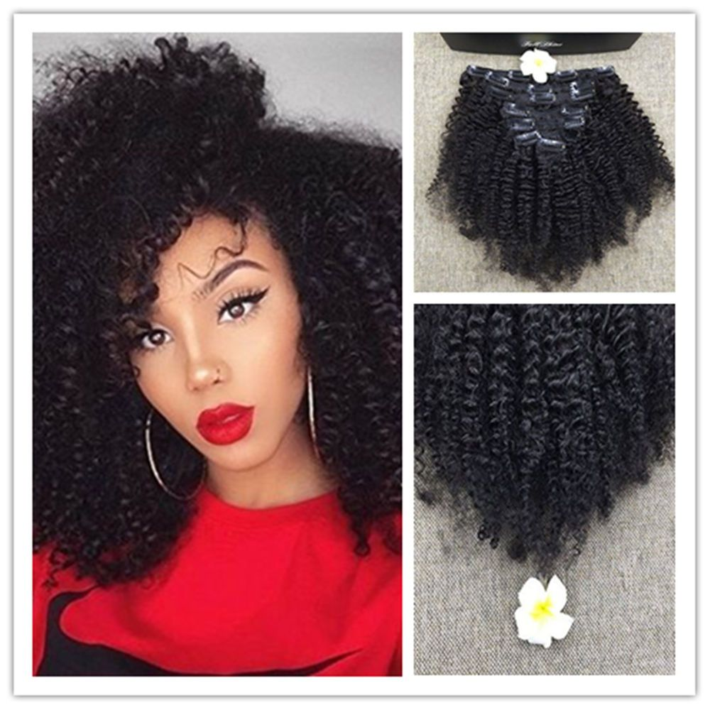 7Pcs 100g Afro Curly Hair Clip Ins Hair Extensions for