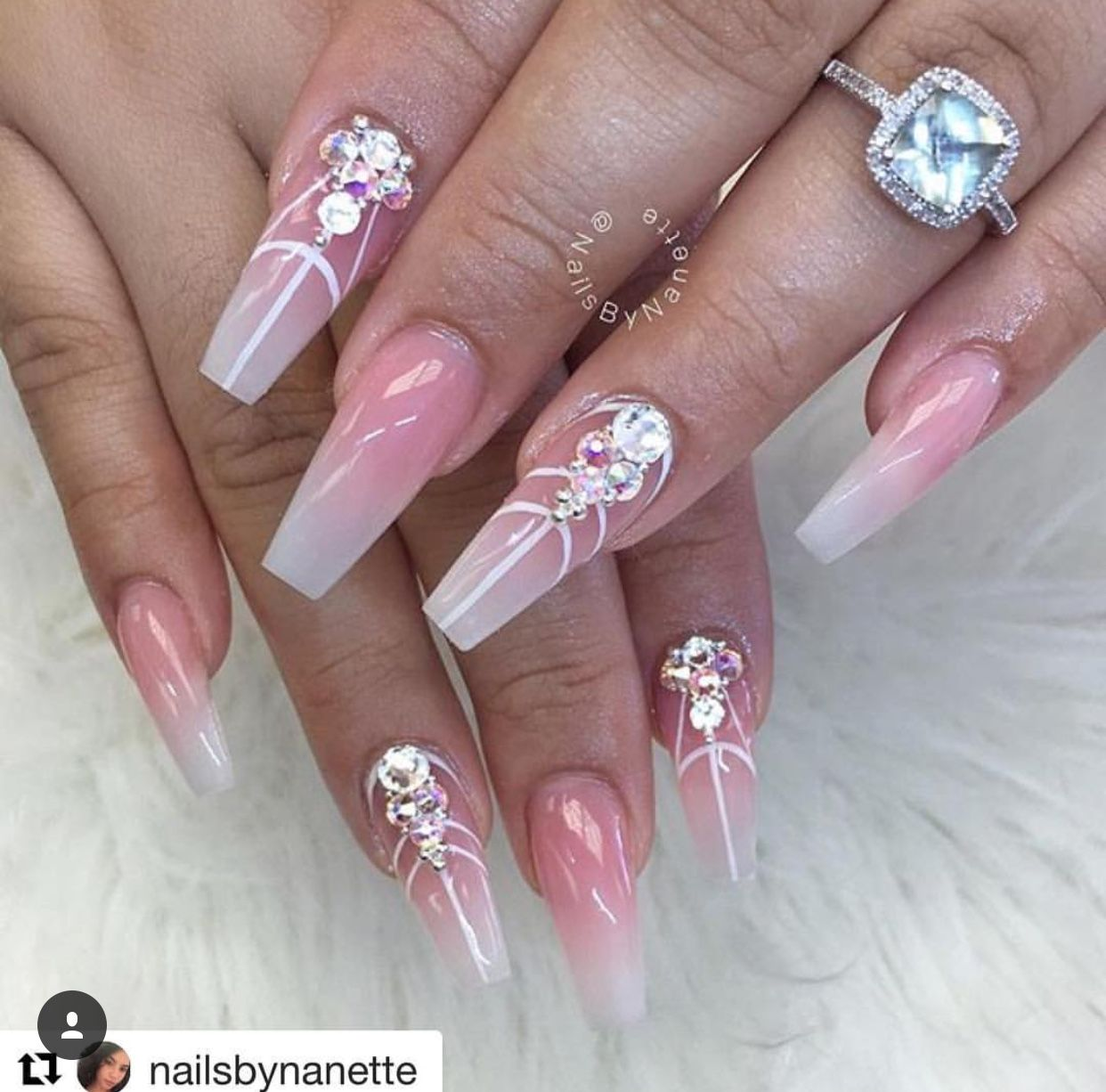 Pink and White Nails | Diamond Nail Art | Stripe Nail Design ...