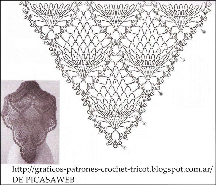 CROCHET - GANCHILLO - PATRONES - GRAFICOS: CHAL TEJIDO A CROCHET CON ...