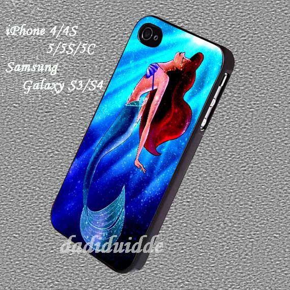 Little mermaid disney on nebula sparkle Case for iphone 4/4S/5/5S/5C, iPod touch 4/5, Samsung Galaxy S3/S4