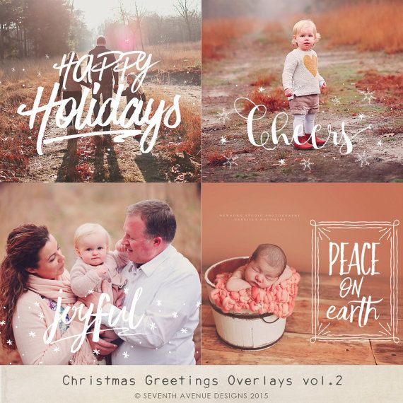Christmas Greetings Overlays vol.2 by 7thavenuedesigns on Etsy