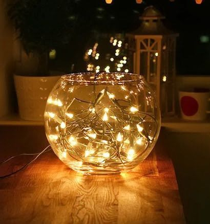 Bowl Vase Fairy Lights Google Search Lighted