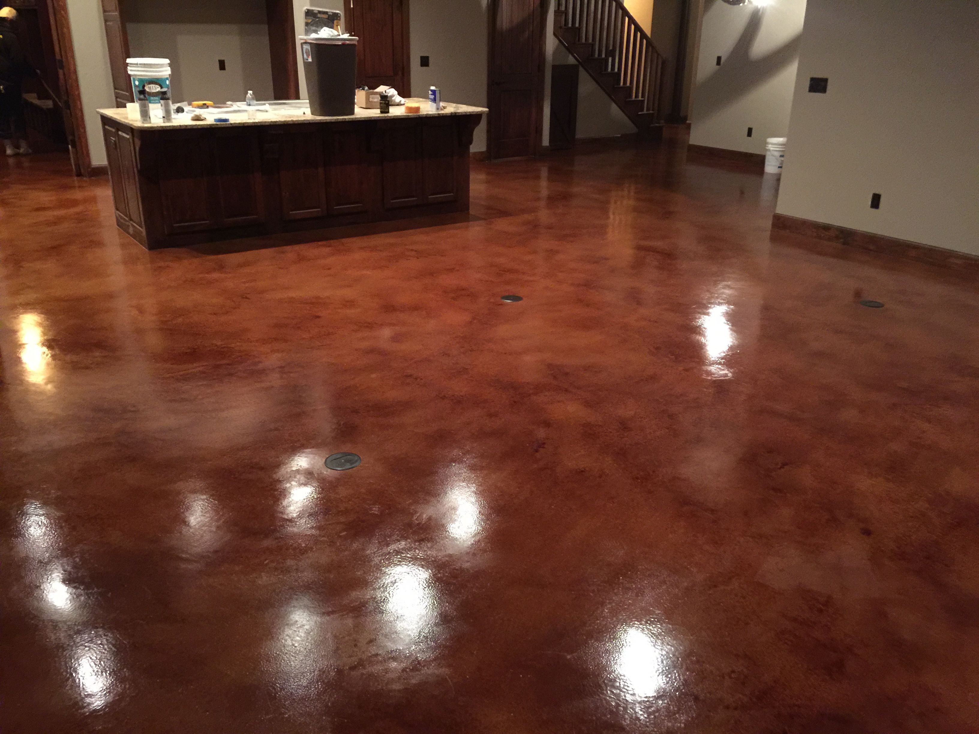 Resurfaced Concrete With English Red Stain And Acrylic Sealer And Synthetic Wax Coat 2 Concrete Stained Floors Stained Cement Floors Concrete Interiors