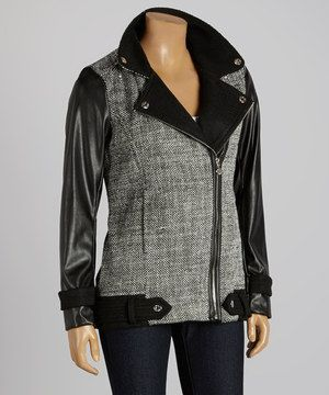Another great find on #zulily! Betsey Johnson Black & Gray Asymmetrical Zipper Coat by Betsey Johnson #zulilyfinds