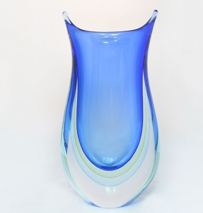 Blue Green And Cyan Murano Glass Sommerso Vase Murano Glass