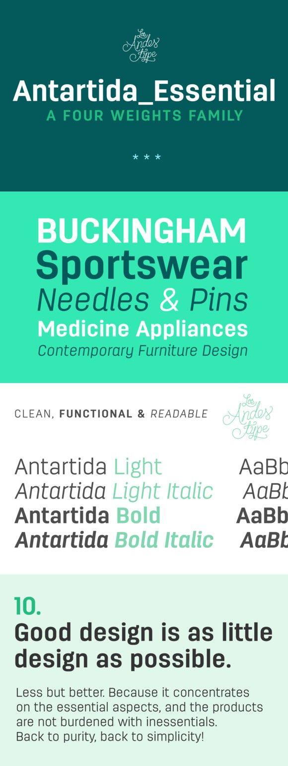 Antartida Essential Family. Sans Serif Fonts. $58.00