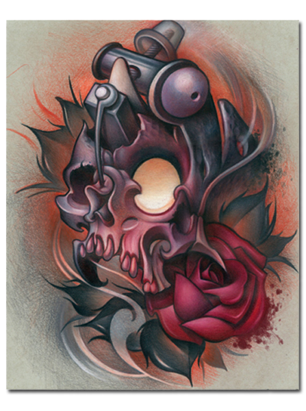 Skull Machine Print By Timmy B For Steadfast Brand Skull Tattoo Design Tattoo Machine Design New School Tattoo