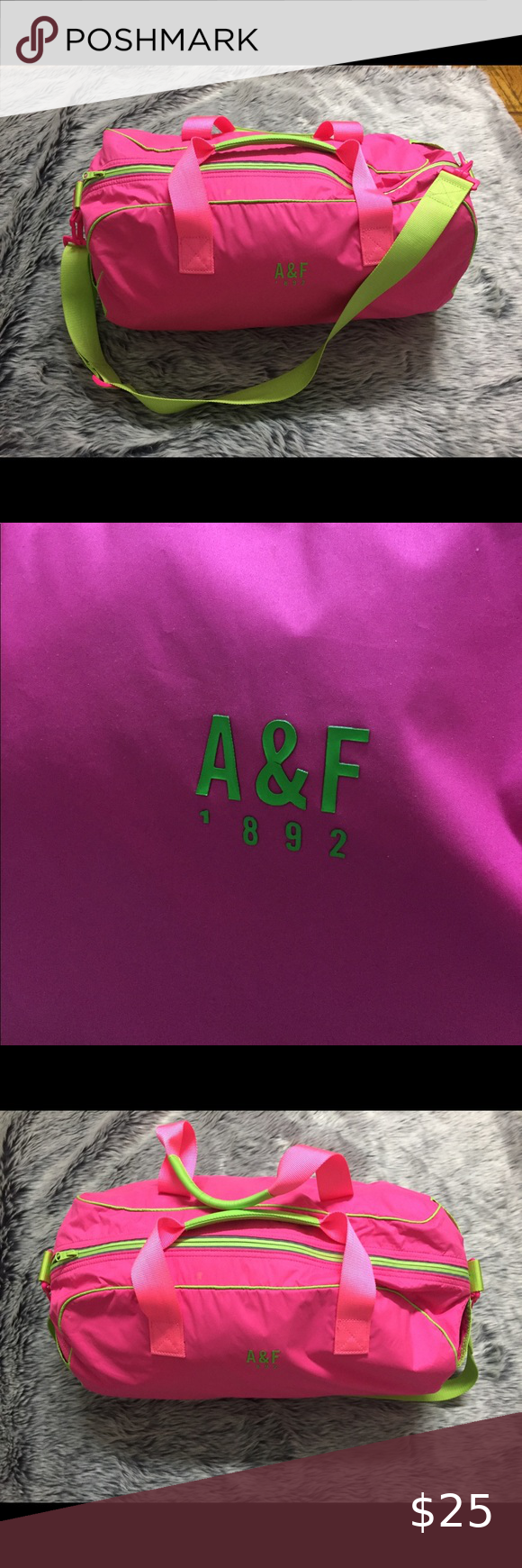 Hot Pink and Neon Green Duffel Bag Pre-owned hot pink and neon green duffel bag. Small dirt marks ar