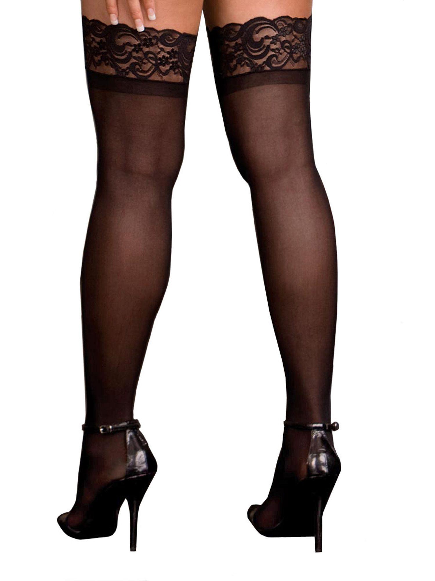 ef4931078 Plus Size Hosiery Lingerie Lace Top Sheer Thigh High Stocking- Fits size  16-22 Lace Top Sheer