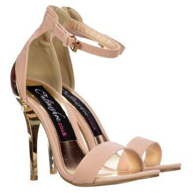 1c70d27d5 Amazon.com  Onlineshoe Women s Peep Toe High Back Mid Heels - Gold Heel  Strappy Sandals - Nude Beige Suede  Shoes