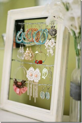 I'm about five years late on this project, but I have a great frame and need to do this ASAP.  Plus, what's prettier than sweet jewelry for a bit of quick decor?