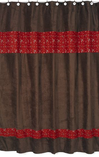 Wild West Cowboy Shower Curtain Brown And Red Bandana Print