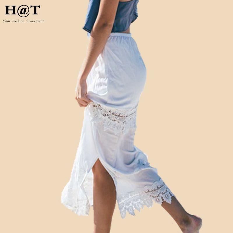 bc5d0eb04e Women High Waist Side Split Lace Panel Maxi Skirt Boho Hippie Crochet White Long  Summer Beach Skirt