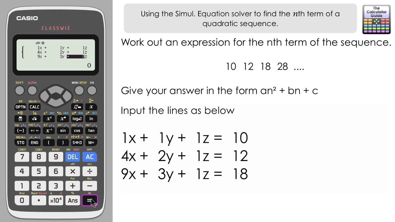 Find nth term of a quadratic sequence using a classwiz