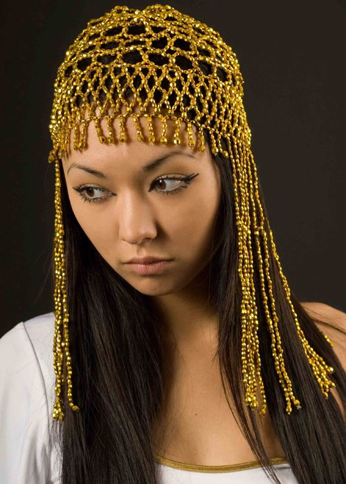 I m particularly interested in metallic and movement this year. Ancient  Greek or Egyptian Cleopatra style gold beaded head piece. e78e5e61575