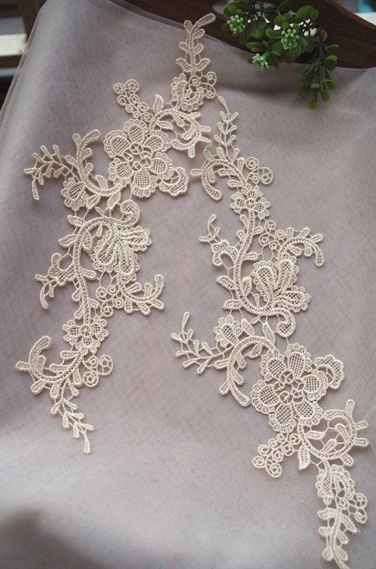 cream lace applique by pairs, venice lace applique, champagne lace aplique #dollunderware