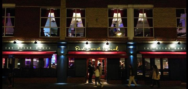 The front of Southend's brand new bar restaurant, East Coast Social 15/03/2015  http://www.lovesouthend.co.uk/food-drink/east-coast-social-preview-night.html