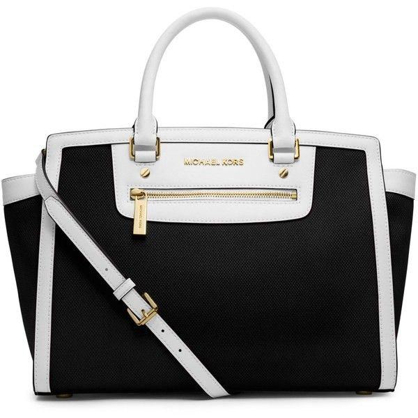 MICHAEL Michael Kors Selma Zip Large Satchel ($298) ❤ liked on Polyvore featuring bags, handbags, black purse, black satchel purse, black hand bags, man satchel bag and satchel purse