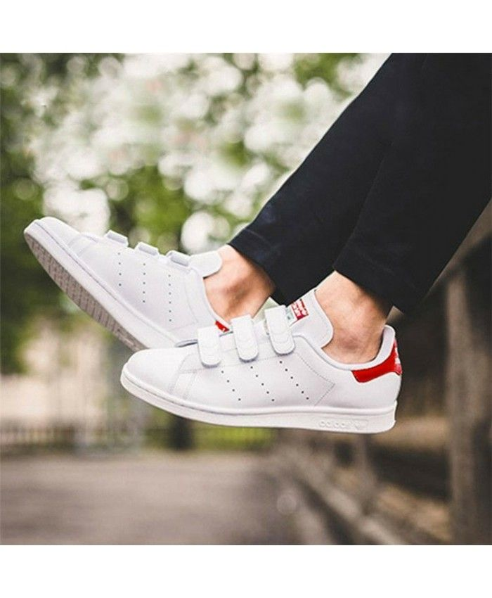 Adidas Stan Smith Velcro Womens White Red Sale | shoes