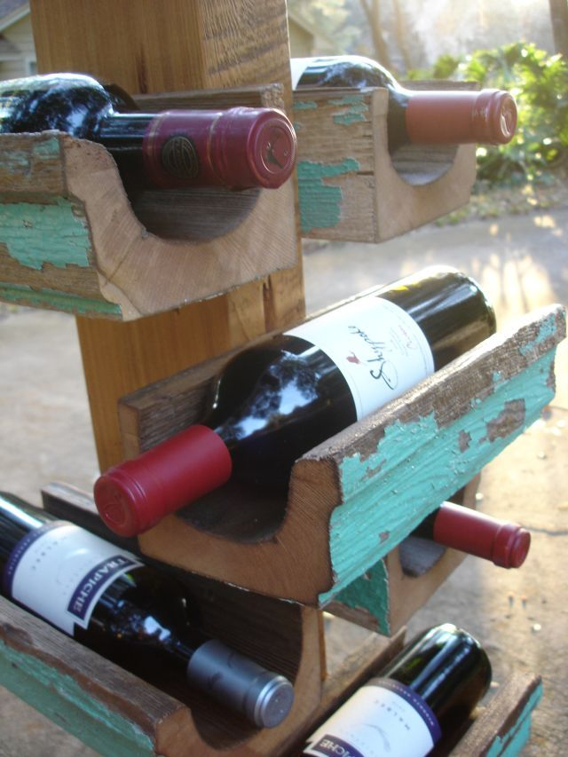 Salvaged Wooden Gutter Wine Rack Cheers Salute Cin
