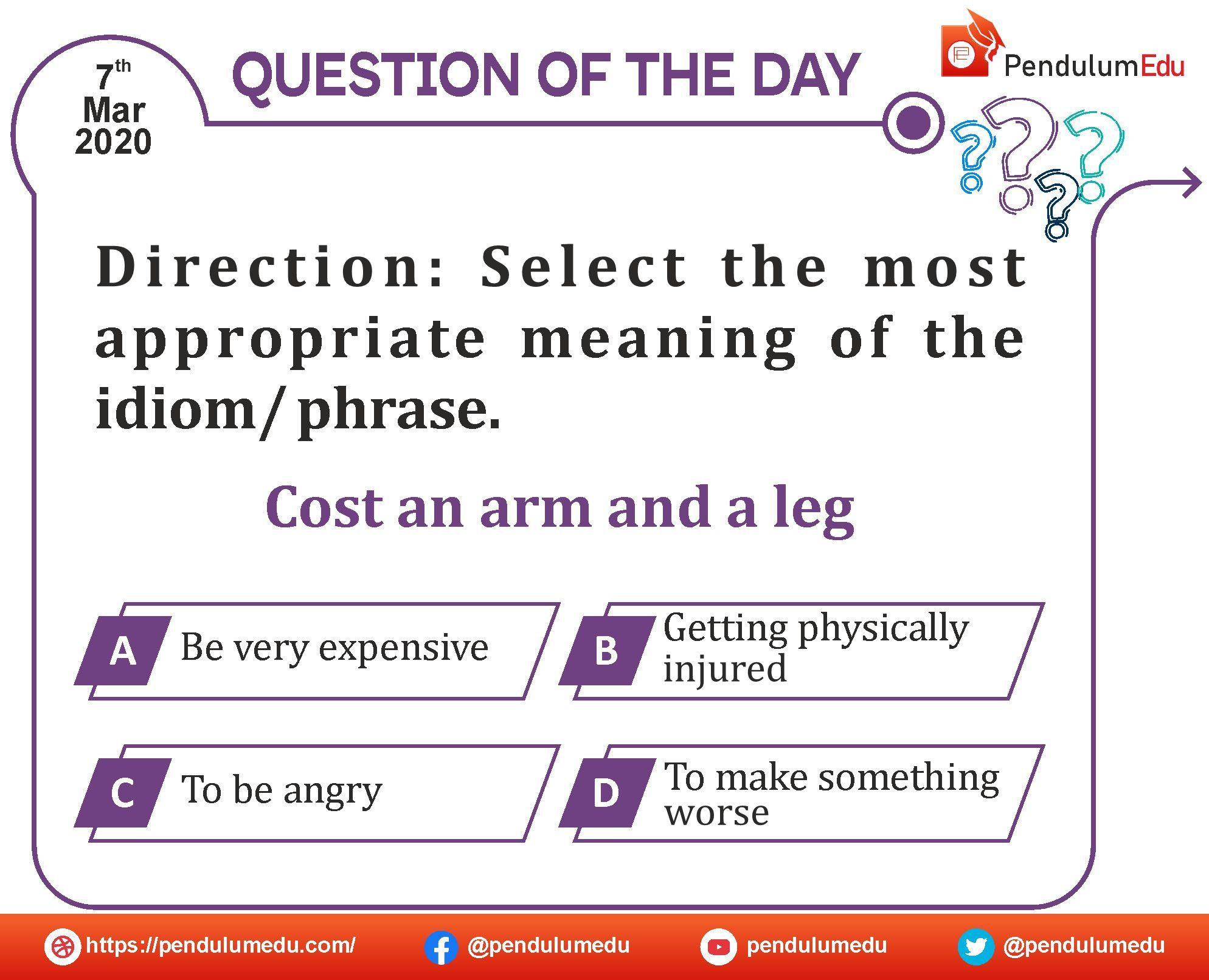 An Arm And A Leg Idiom Meaning In Hindi Qotd In 2020 Idioms And Phrases Question Of The Day Idioms