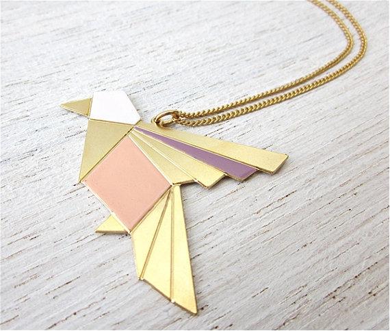 Origami exotic bird necklace in gold bird pendant by shlomitofir origami exotic bird necklace in gold bird pendant by shlomitofir 5600 mozeypictures Gallery