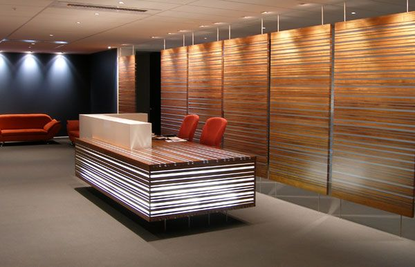 Reception desk in 2019 wooden wall panels wood interior - Modern wood wall paneling ...