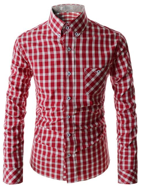 50d44726f7fa0 (AL113-RED) Slim Button Down Checker Pattern Chest Pocket Patched Long  Sleeve Shirts. Camisas 2017Camisas De BotonesCamisas ...