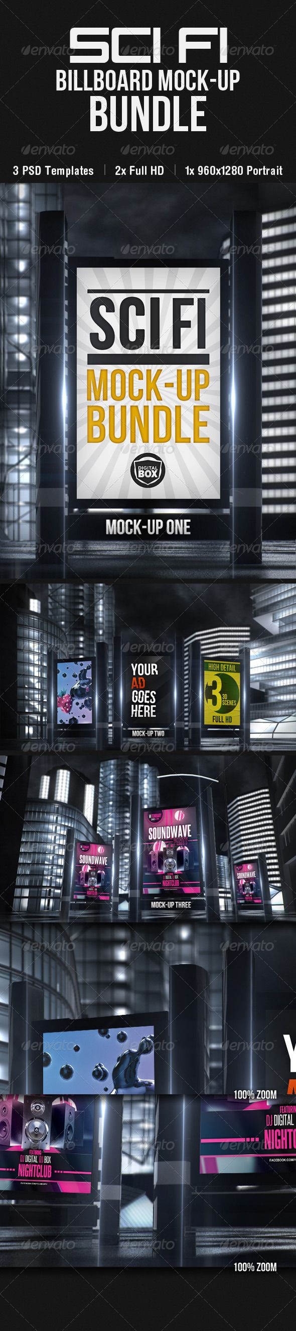 Scifi Billboard Mockup Bundle Billboard mockup, Mockup