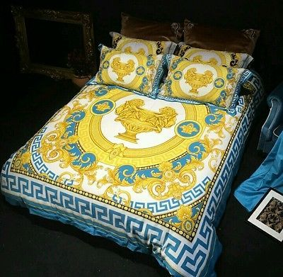 Image Of Versace Style Luxury Lion Head Duvet Bedding Set Black And Blue White And Gold Effect Greek Key Versace Bedding Duvet Bedding Sets Gold Bedding Sets