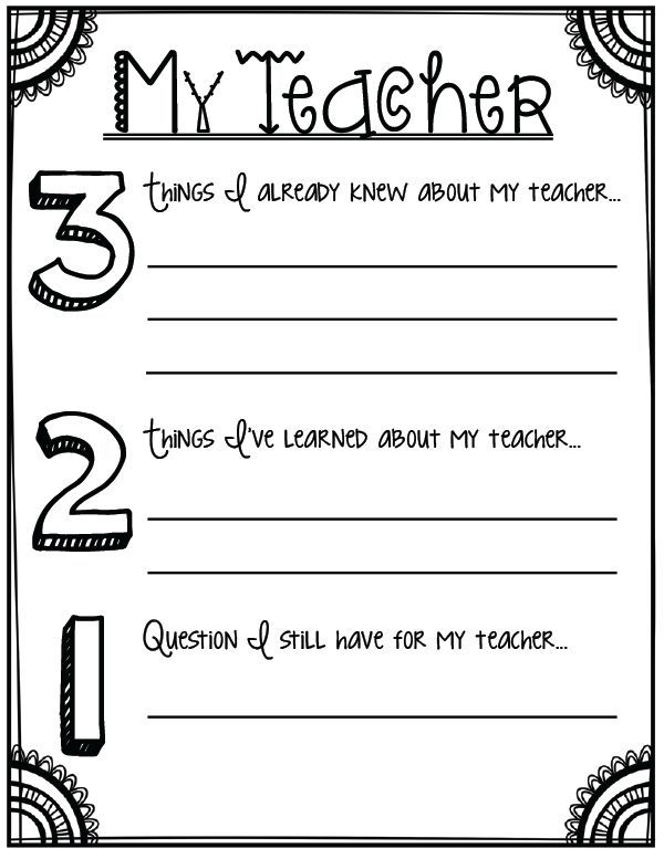 321 About My Teacher Back to school printables for grades 3 and – 3-2-1 Worksheet