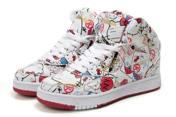 Reebok High Tops Hello Kitty Travel Kitty Tennis Shoes : Cool High Tops  Nikes Dunks Adidas Converse Cartoon Shoes, Cheap For Sale