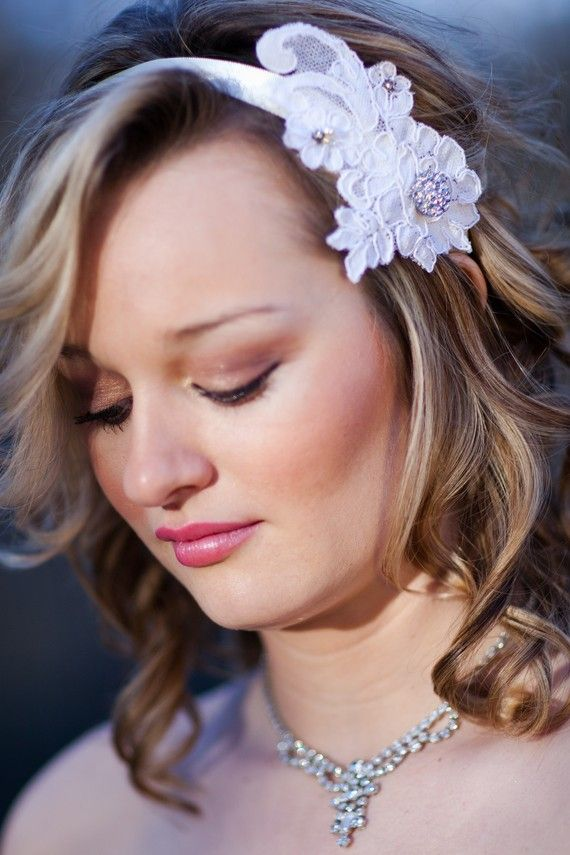 Ivory Vintage Lace Bridal Headpiece Champagne by GracefullyGirly, $46.00