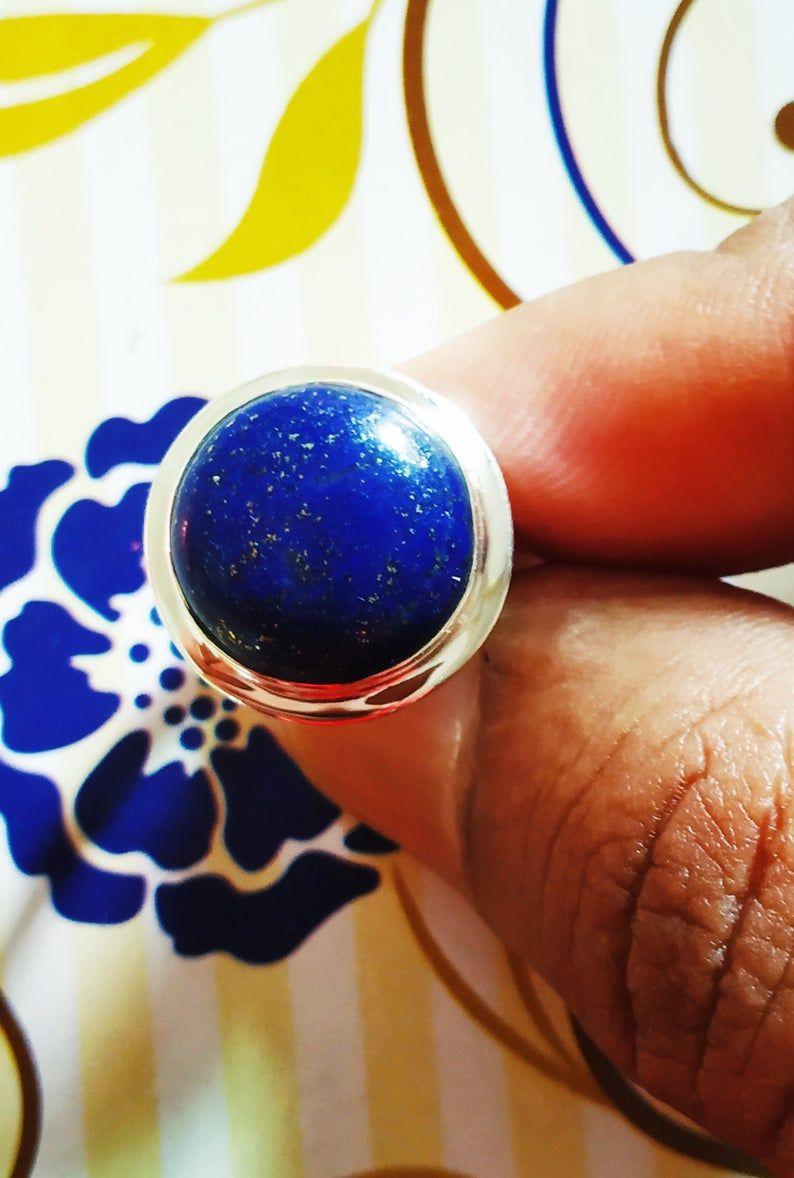 Lapis Lazuli ring Natural stone ring tibetan Earrings round ring .