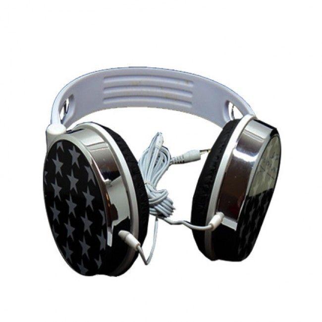 HeadGear Kromi Tähdet (Musta - Valkoinen) 3,5 mm Stereo Kuulokkeet - Ilmainen Toimitus!