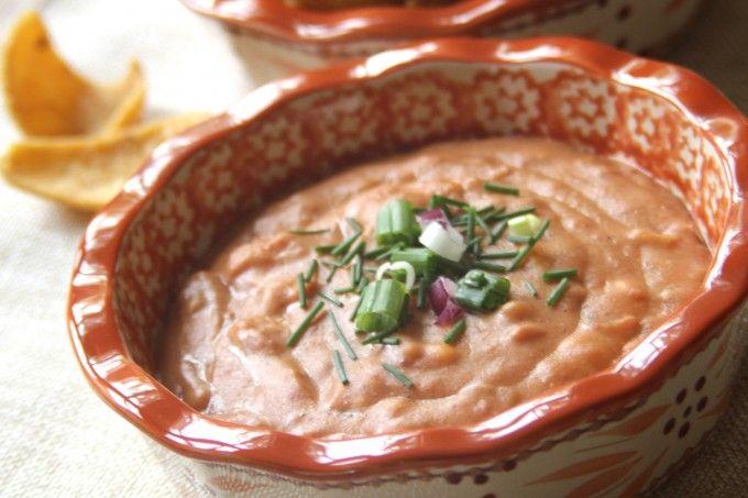 Cheesy Refried Bean Dip   Snacks and Dips   Refried bean dip