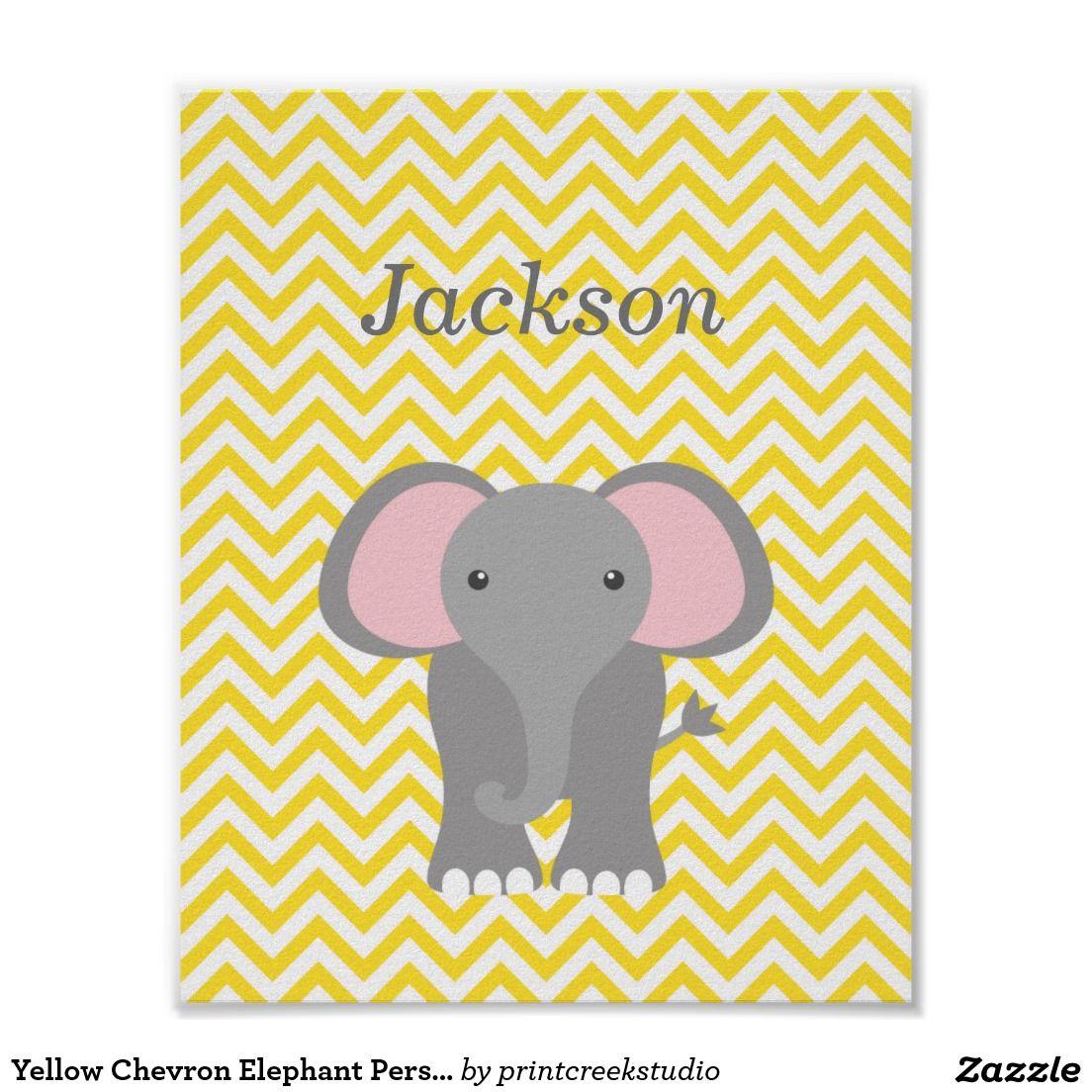 Yellow Chevron Elephant Personalized Nursery Decor | Yellow chevron ...