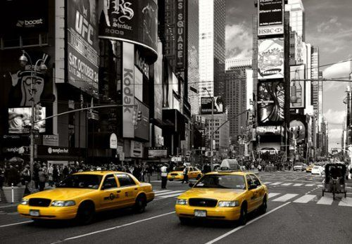 High Quality Yellow Cabs At Times Square Photo Wallpaper Wall Mural By Superflowdesign,  Http://