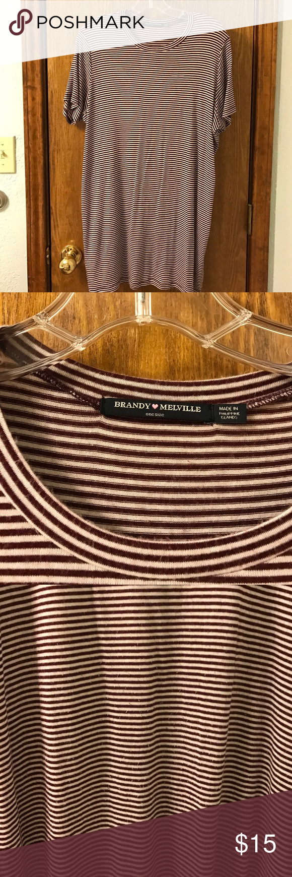 Brandy Melville T-Shirt Dress Maroon and white striped Brandy Melville T-shirt dress. Classic soft Brandy material. Gently worn condition but still adorable! (Brandy Melville is one size fits all) Brandy Melville Dresses