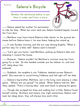 Story Sequencing Selenas Bicycle Elementary Activities